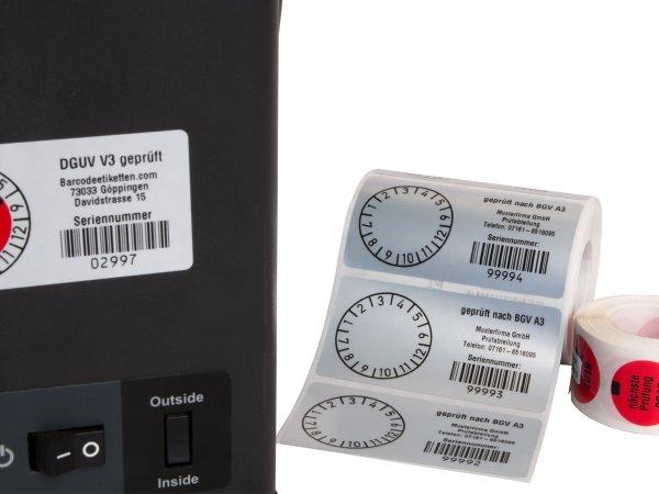 """Anwendung: Prüfplakettenträger Material:Polyethylen-Folie hochglänzend weiß Größe:68x34mm Kopfzeile:""""Ihr Wunschtext"""" Barcode:128B Stellenanzahl:5-stellig Ausführung:1 Etikette pro Nummer Menge:300"""