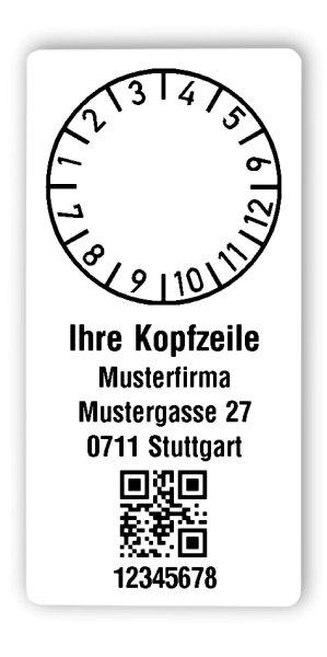 """Prüfplakettenträger Material:Polyethylen-Folie hochglänzend weiß Größe:68x34mm Kopfzeile:""""Ihr Wunschtext"""" Barcode:QR Stellenanzahl:8-stellig Ausführung:1 Etikette pro Nummer Menge:300"""