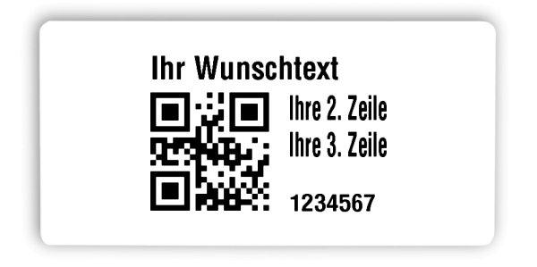 """Universaletiketten Material:Polyethylen-Folie hochglänzend weiß Größe:68x34mm Kopfzeile:""""Ihr Wunschtext"""" Barcode:QR Stellenanzahl:7-stellig Ausführung:1 Etikette pro Nummer Menge:1000"""