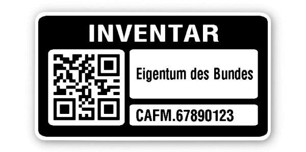 """Sonderetiketten Material:Polyethylen-Folie hochglänzend weiß Größe:45x25mm Kopfzeile:""""Ihr Wunschtext"""" Barcode:QR Stellenanzahl:13-stellig Ausführung:1 Etikette pro Nummer Menge:1000"""