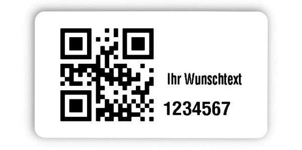 """Inventaretiketten Universal Material:Polyethylen-Folie hochglänzend weiß Größe:45x25mm Kopfzeile:""""Ihr Wunschtext"""" Barcode:QR Stellenanzahl:7-stellig Menge:1000"""