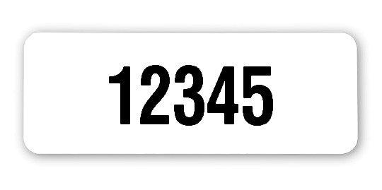 """Archivierungsetiketten Material:Polyethylen-Folie hochglänzend weiß Größe:40x15mm Kopfzeile:""""ohne"""" Stellenanzahl:5-stellig Ausführung:1 Etikette pro Nummer Menge:1000"""