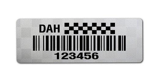 """Sonderetiketten Material:Polyester-Folie Silberoptik Siegeletikette Größe:36x13mm Kopfzeile:""""Ihr Wunschtext"""" Barcode:128B Stellenanzahl:6-stellig Ausführung:1 Etikette pro Nummer Menge:1000"""