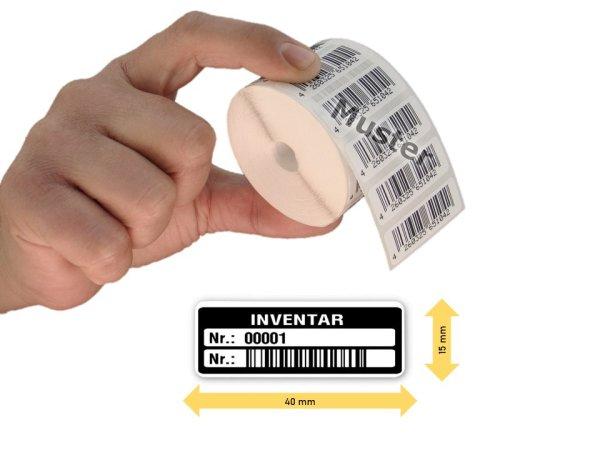 Inventaretiketten, 40x15mm, weiß, Nummernkreis 00001-01000, 1.000 Stück