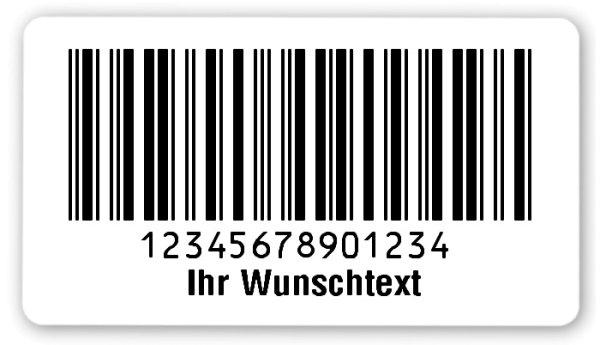 """Sonderetiketten Material:Polyethylen-Folie hochglänzend weiß Größe:54x30mm Kopfzeile:""""Ihr Wunschtext"""" Barcode:2a5 interleaved Stellenanzahl:14-stellig Ausführung:1 Etikette pro Nummer Menge:1000"""