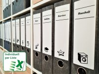 Anwendung: Ordnerrücken Etiketten Material:Polyethylen-Folie weiß matt opak Größe:195x62mm Vorgabeliste:Mit Vorgabeliste Schriftart:Designer...