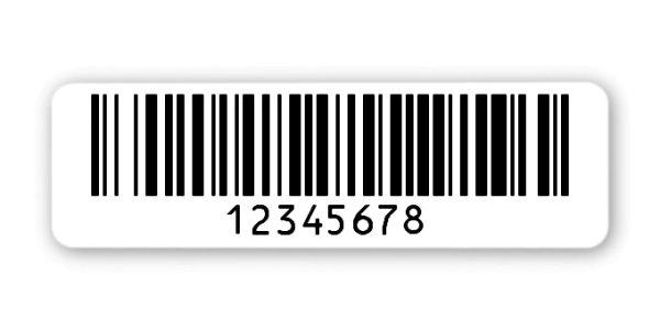 """Archivierungsetiketten Material:Polyethylen-Folie hochglänzend weiß Größe:50x15mm Kopfzeile:""""ohne"""" Barcode:128B Stellenanzahl:8-stellig Menge:1000"""