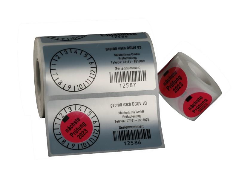 Prüfetikett mit Barcode