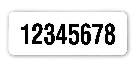 """Universaletiketten Material:Polyethylen-Folie hochglänzend weiß Größe:40x15mm Kopfzeile:""""ohne"""" Barcode:ohne Stellenanzahl:8-stellig Ausführung:1 Etikette pro Nummer Menge:1000"""