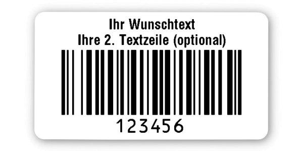 """Universaletiketten Material:Folie hochglänzend weiß Größe:45x25mm Kopfzeile:""""Ihr Wunschtext"""" Barcode:128B Stellenanzahl:6-stellig Ausführung:4 Etiketten pro Nummer Menge:1000"""