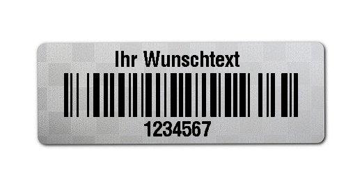 """Universaletiketten Material:Polyester-Folie Silberoptik Siegeletikette Größe:36x13mm Kopfzeile:""""Ihr Wunschtext"""" Barcode:128B Stellenanzahl:7-stellig Ausführung:1 Etikette pro Nummer Menge:1000"""