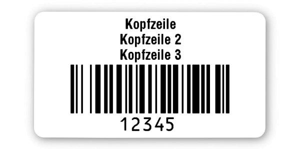 """Archivierungsetiketten Material:Polyethylen-Folie hochglänzend weiß Größe:45x25mm Kopfzeile:""""Ihr Wunschtext"""" Barcode:128B Stellenanzahl:5-stellig Ausführung:1 Etikette pro Nummer Menge:100"""