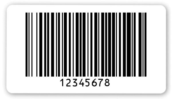 """Archivierungsetiketten Material:Polyethylen-Folie hochglänzend weiß Größe:54x30mm Kopfzeile:""""ohne"""" Barcode:128B Stellenanzahl:8-stellig Ausführung:1 Etikette pro Nummer Menge:1000"""