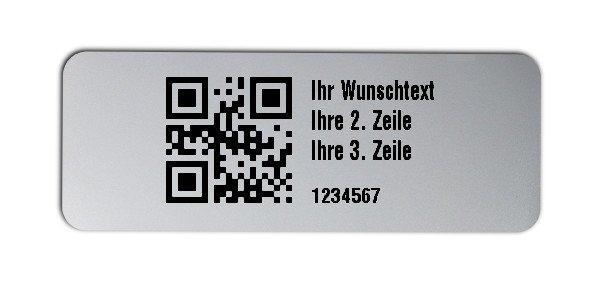 """Universaletiketten Material:Folie silber matt Größe:40x15mm Kopfzeile:""""Ihr Wunschtext"""" Barcode:QR Stellenanzahl:7-stellig Ausführung:3 Etiketten pro Nummer Menge:300"""