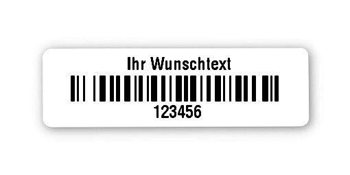 """Universaletiketten Material:Folie hochglänzend weiß Größe:31x9mm Kopfzeile:""""Ihr Wunschtext"""" Barcode:128B Stellenanzahl:6-stellig Ausführung:4 Etiketten pro Nummer Menge:1000"""