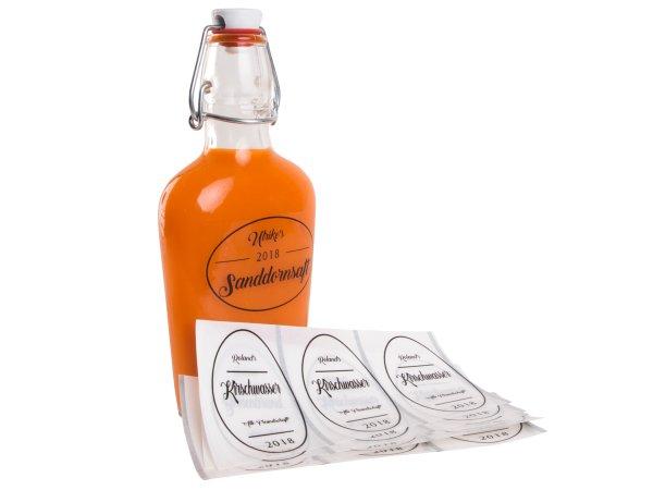 """Anwendung: Flaschenetiketten Material:Schutzetikett & schwarz Größe:76x51mm Kopfzeile:""""Ihr Wunschtext"""" Stellenanzahl:4-stellig Sonderetikett:Repeat 12 Menge:10"""