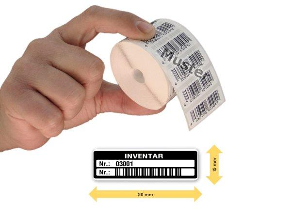 Inventaretiketten, 50x15mm, weiß, Nummernkreis 03001-04000, 1.000 Stück