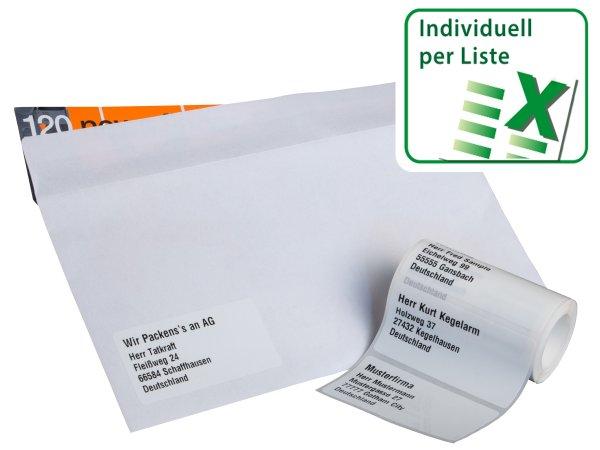 Anwendung: Adressaufkleber Material:Polyethylen-Folie hochglänzend weiß Größe:68x34mm Vorgabeliste:Mit Vorgabeliste Schriftart:Classic Stellenanzahl:ohne Menge:100