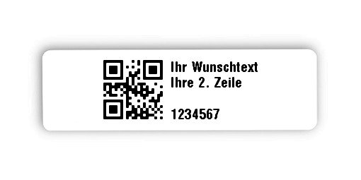"""Universaletiketten Material:Polyethylen-Folie hochglänzend weiß Größe:31x9mm Kopfzeile:""""Ihr Wunschtext"""" Barcode:QR Stellenanzahl:7-stellig Ausführung:1 Etikette pro Nummer Menge:1000"""
