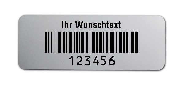 """Universaletiketten Material:Folie silber matt Größe:40x15mm Kopfzeile:""""Ihr Wunschtext"""" Barcode:128B Stellenanzahl:6-stellig Ausführung:2 Etiketten pro Nummer Menge:1000"""