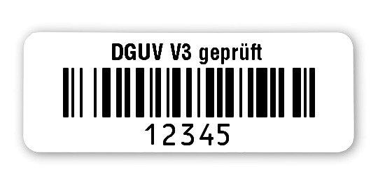 """Prüfetiketten Material:Polyethylen-Folie hochglänzend weiß Größe:40x15mm Kopfzeile:""""DGUV V3 geprüft"""" Barcode:128B Stellenanzahl:5-stellig Ausführung:1 Etikette pro Nummer Menge:1000"""