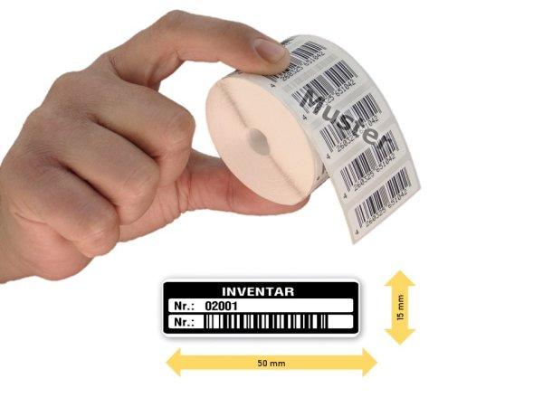 Inventaretiketten, 50x15mm, weiß, Nummernkreis 02001-03000, 1.000 Stück