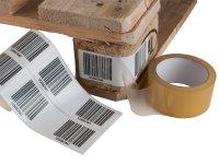 """Anwendung: Palettenetiketten Material:Polyethylen-Folie hochglänzend weiß Größe:150x50mm Kopfzeile:""""ohne"""" Barcode:128C Stellenanzahl:4-stellig..."""