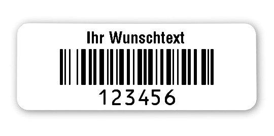 """Produktbild:Universaletiketten Material:Folie weiß Größe:40x15mm Kopfzeile:""""Ihr Wunschtext"""" Barcode:128B Stellenanzahl:6-stellig Ausführung:1 Etikett pro Nummer Etiketten je Rolle:1000"""