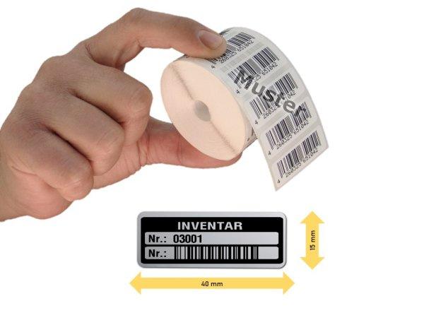 Inventaretiketten, 40x15mm, silber, Nummernkreis 03001-04000, 1.000 Stück