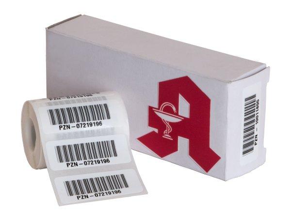"""Anwendung: PZN Etiketten Material:Polyethylen-Folie hochglänzend weiß Größe:40x15mm Kopfzeile:""""ohne"""" Barcode:PZN-8 Stellenanzahl:9-stellig Sonderetikett:Uncodierter Präfix Menge:100"""