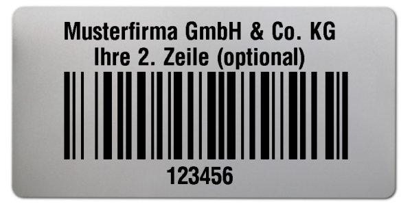 """Universaletiketten Material:Polyester-Folie Silberoptik matt Größe:68x34mm Kopfzeile:""""Ihr Wunschtext"""" Barcode:128B Stellenanzahl:6-stellig Ausführung:1 Etikette pro Nummer Menge:1000"""