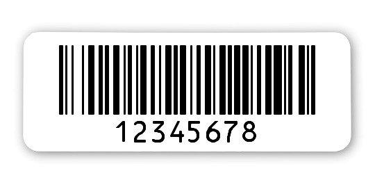 """Archivierungsetiketten Material:Polyethylen-Folie hochglänzend weiß Größe:40x15mm Kopfzeile:""""ohne"""" Barcode:128B Stellenanzahl:8-stellig Menge:1000"""