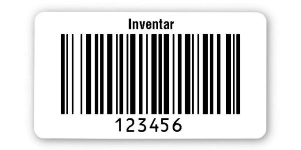 """Inventaretiketten Universal Material:Polyethylen-Folie hochglänzend weiß Größe:45x25mm Kopfzeile:""""Inventar"""" Barcode:128B Stellenanzahl:6-stellig Ausführung:1 Etikette pro Nummer Menge:1000"""