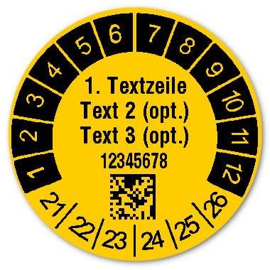 """Produktbild:Prüfetiketten Material:Folie gelb Größe:Ø 30mm Kopfzeile:""""Ihr Wunschtext"""" Barcode:DataMatrix Stellenanzahl:8-stellig Ausführung:1 Etikett pro Nummer Etiketten je Rolle:1000"""