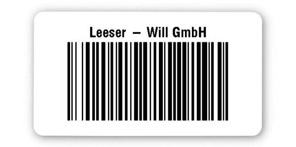 """Archivierungsetiketten Material:Polyethylen-Folie hochglänzend weiß Größe:45x25mm Kopfzeile:""""Ihr Wunschtext"""" Barcode:128B Stellenanzahl:8-stellig Sonderetikett:Ohne Klartext Menge:1000"""