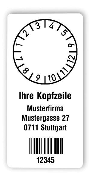 """Prüfplakettenträger Material:Polyethylen-Folie hochglänzend weiß Größe:68x34mm Kopfzeile:""""Ihr Wunschtext"""" Barcode:128B Stellenanzahl:5-stellig Ausführung:1 Etikette pro Nummer Menge:300"""