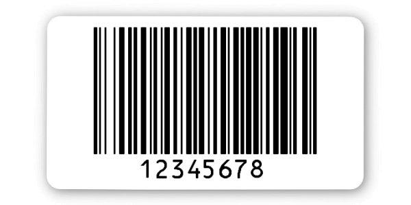"""Archivierungsetiketten Material:Polyethylen-Folie hochglänzend weiß Größe:45x25mm Kopfzeile:""""ohne"""" Barcode:128B Stellenanzahl:8-stellig Ausführung:1 Etikette pro Nummer Menge:1000"""