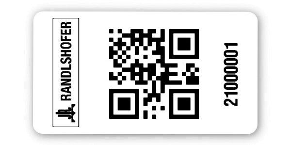 Sonderetiketten Material:Polyethylen-Folie hochglänzend weiß Größe:45x25mm Logo:Mit Logo Barcode:QR Stellenanzahl:8-stellig Ausführung:1 Etikette pro Nummer Menge:1000