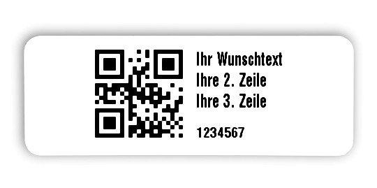 """Universaletiketten Material:Folie hochglänzend weiß Größe:40x15mm Kopfzeile:""""Ihr Wunschtext"""" Barcode:QR Stellenanzahl:7-stellig Ausführung:4 Etiketten pro Nummer Menge:1000"""