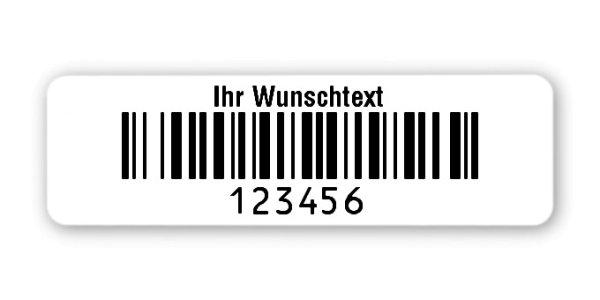 """Universaletiketten Material:Folie hochglänzend weiß Größe:50x15mm Kopfzeile:""""Ihr Wunschtext"""" Barcode:128B Stellenanzahl:6-stellig Ausführung:3 Etiketten pro Nummer Menge:300"""