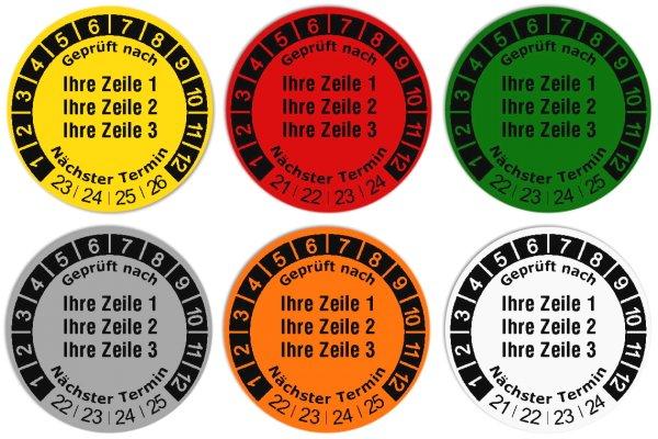 """Anwendung: Datum Prüfetikett Material:Folie gelb Größe:Ø 30mm Kopfzeile:""""Ihr Wunschtext"""" Barcode:ohne Stellenanzahl:ohne Ausführung:1 Etikett pro Nummer Etiketten je Rolle:1000"""