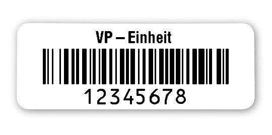 """Inventaretiketten Universal Material:Polyethylen-Folie hochglänzend weiß Größe:40x15mm Kopfzeile:""""Ihr Wunschtext"""" Barcode:128B Stellenanzahl:8-stellig Ausführung:2 Etiketten pro Nummer Menge:1000"""