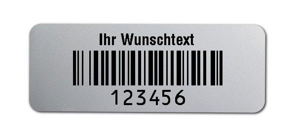 """Universaletiketten Material:Folie silber matt Größe:40x15mm Kopfzeile:""""Ihr Wunschtext"""" Barcode:128B Stellenanzahl:6-stellig Ausführung:3 Etiketten pro Nummer Menge:300"""