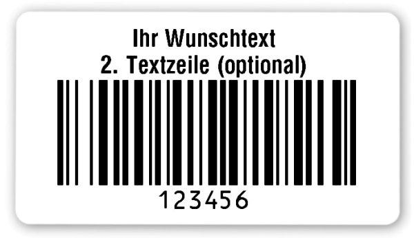 """Universaletiketten Material:Folie hochglänzend weiß Größe:54x30mm Kopfzeile:""""Ihr Wunschtext"""" Barcode:128B Stellenanzahl:6-stellig Ausführung:2 Etiketten pro Nummer Menge:1000"""