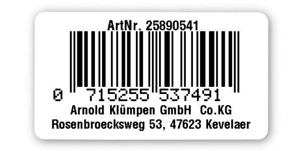 """Sonderetiketten Material:Polyethylen-Folie hochglänzend weiß Größe:45x25mm Kopfzeile:""""Ihr Wunschtext"""" Barcode:EAN 13 Stellenanzahl:13-stellig Ausführung:1 Etikette pro Nummer Menge:1000"""
