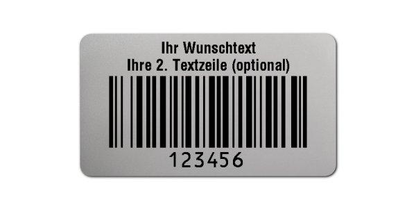 """Universaletiketten Material:Polyester-Folie Silberoptik matt Größe:45x25mm Kopfzeile:""""Ihr Wunschtext"""" Barcode:128B Stellenanzahl:6-stellig Ausführung:1 Etikette pro Nummer Menge:1000"""