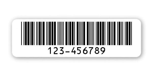 """Archivierungsetiketten Material:Polyethylen-Folie hochglänzend weiß Größe:50x15mm Kopfzeile:""""ohne"""" Barcode:Code 39 ohne Prüfziffer Stellenanzahl:9-stellig Sonderetikett:Uncodiertes Sonderzeichen Menge:1000"""