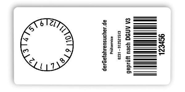 """Produktbild:Sonderetiketten Material:Folie weiß Größe:68x34mm Kopfzeile:""""Ihr Wunschtext"""" Barcode:128B Stellenanzahl:6-stellig Ausführung:1 Etikett pro Nummer Etiketten je Rolle:1000"""