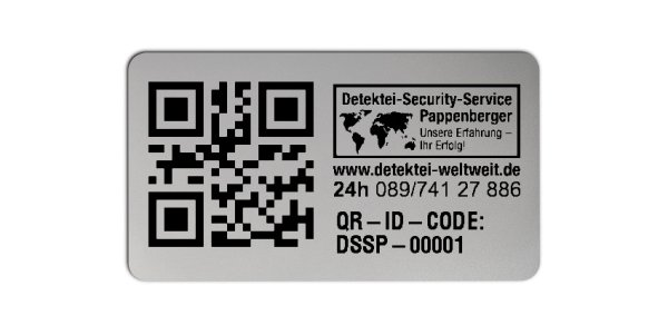 Sonderetiketten Material:Polyester-Folie Silberoptik matt Größe:45x25mm Logo:Mit Logo Barcode:QR Stellenanzahl:10-stellig Ausführung:1 Etikette pro Nummer Menge:1000