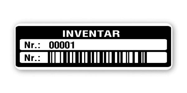 """Inventaretiketten Material:Folie hochglänzend weiß Größe:50x15mm Kopfzeile:""""Inventar"""" Barcode:128B Stellenanzahl:5-stellig Ausführung:1 Etikette pro Nummer Menge:1000"""